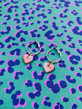 Load image into Gallery viewer, Small Dusky Pink Snake Skin Print Heart Stud Earrings