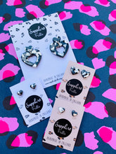 Load image into Gallery viewer, Small Metallic Grey Leopard Print with Silver Heart Stud Earrings