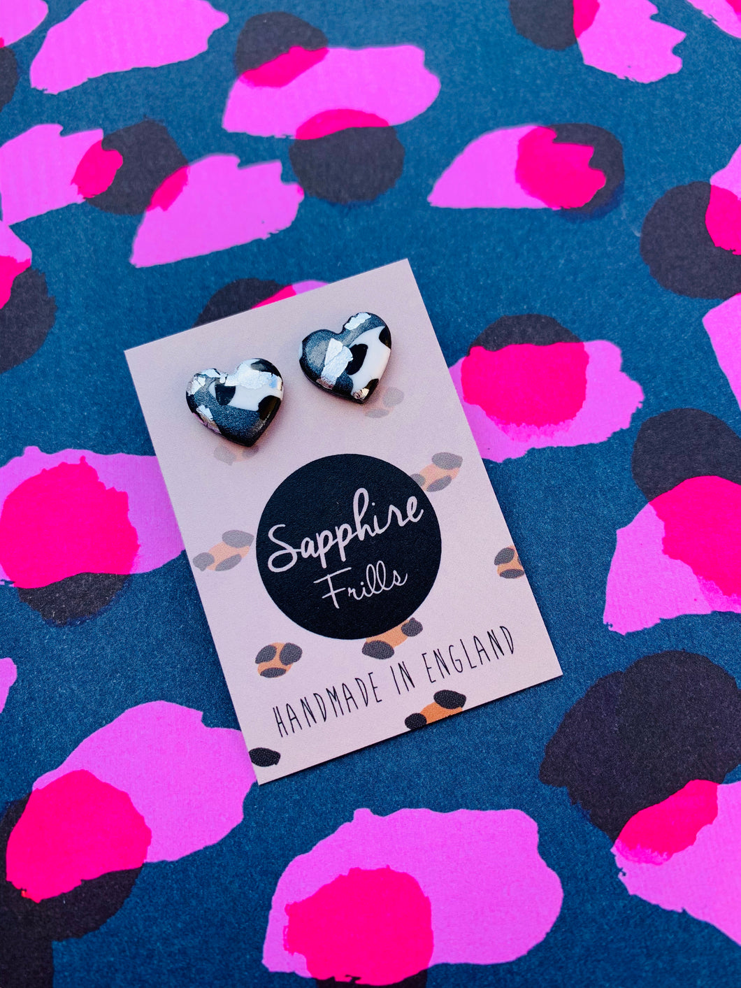 Small Metallic Grey Leopard Print with Silver Heart Stud Earrings
