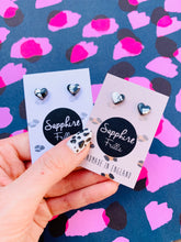 Load image into Gallery viewer, Mini Metallic Grey Leopard Print Heart Stud Earrings