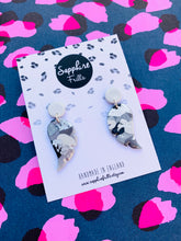 Load image into Gallery viewer, Translucent Silver Glitter Smudge Print Angel Wings Dangle Earrings