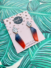 Load image into Gallery viewer, Navy and Burnt Orange Ombre Polka Dot Geometric Dangle Earrings