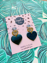 Load image into Gallery viewer, Dark Green, Mustard and White Zebra Print Heart Trio Dangle Earrings