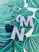 Load image into Gallery viewer, White Hologram Glitter Initial Keyring