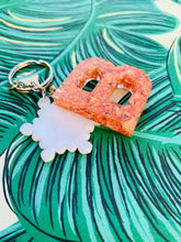Load image into Gallery viewer, Rose Gold Flakes Initial Keyring