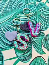 Load image into Gallery viewer, Lilac Florescent Glitter Initial Keyring