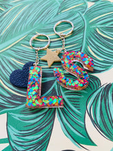 Load image into Gallery viewer, Primary Rainbow Glitter Initial Keyring