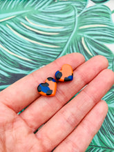 Load image into Gallery viewer, Small Orange and Blue Leopard Print Heart Stud Earrings