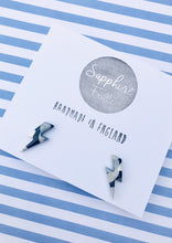 Load image into Gallery viewer, Medium Monochrome Smudge Lightning Bolt Stud Earrings