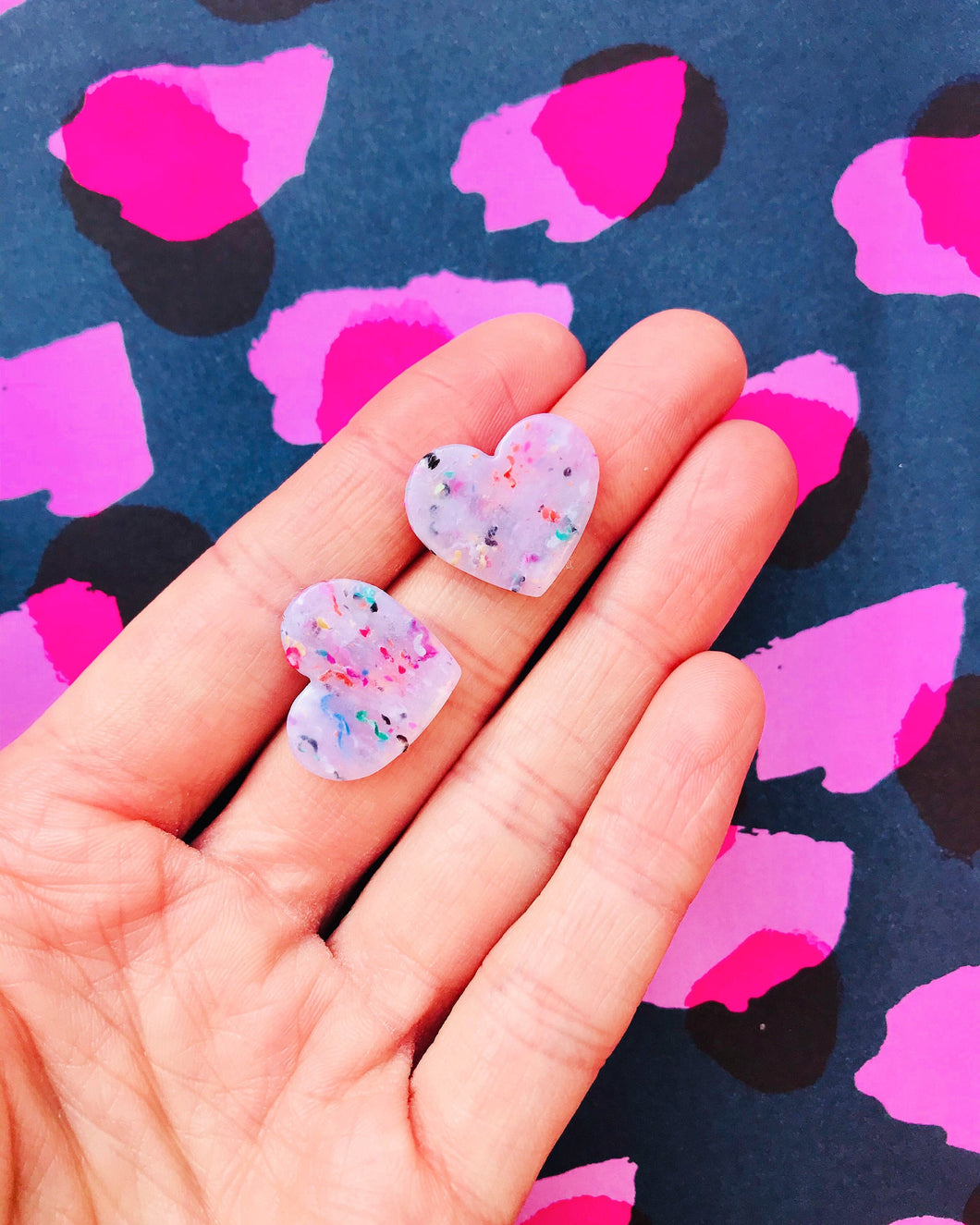 Medium Translucent Confetti Heart Stud Earrings