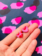 Load image into Gallery viewer, Small Pink Leopard Print Heart Stud Earrings