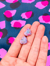 Load image into Gallery viewer, Small Translucent Confetti Heart Stud Earrings