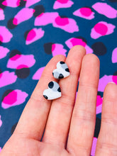 Load image into Gallery viewer, Small Snow Leopard Print Heart Stud Earrings