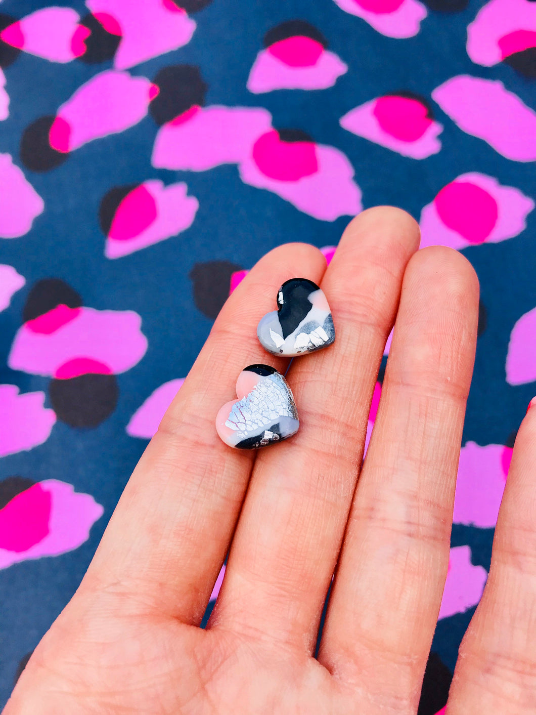 Small Lilac Hologram Smudge Print Heart Stud Earrings