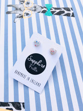 Load image into Gallery viewer, Mini Translucent Confetti Heart Stud Earrings