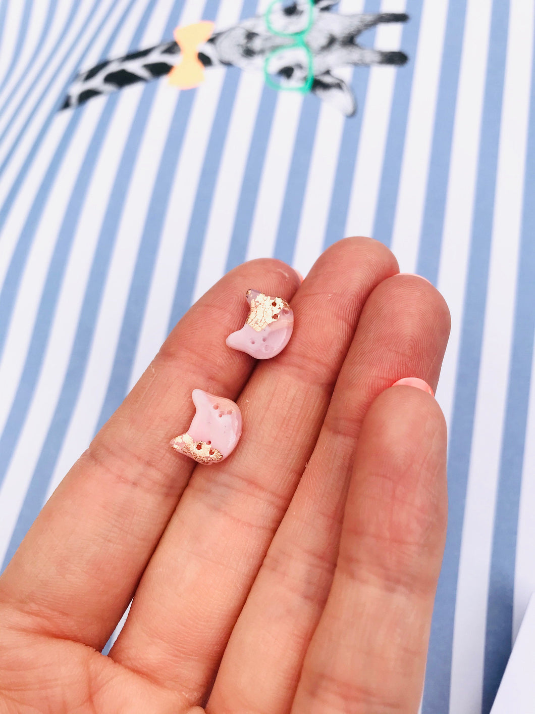 Mini Rose Gold Translucent Kitty Cat Heads Stud Earrings