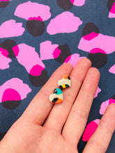 Load image into Gallery viewer, Small Mismatch Warm Rainbow Leopard Print Heart Stud Earrings