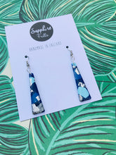 Load image into Gallery viewer, Blue and Silver Smudge Print Trapeze Dangle Earrings