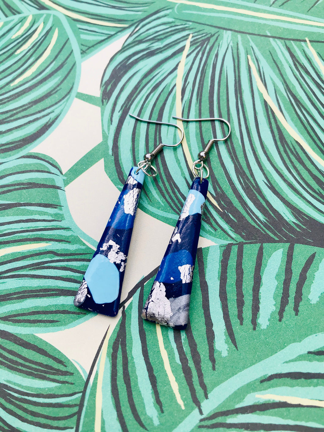Blue and Silver Smudge Print Trapeze Dangle Earrings