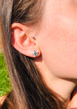 Load image into Gallery viewer, Mini Emerald and Gold Star Stud Earrings