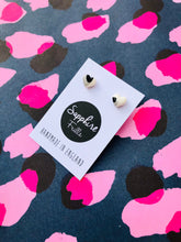 Load image into Gallery viewer, Mini Snow Leopard Print Heart Stud Earrings