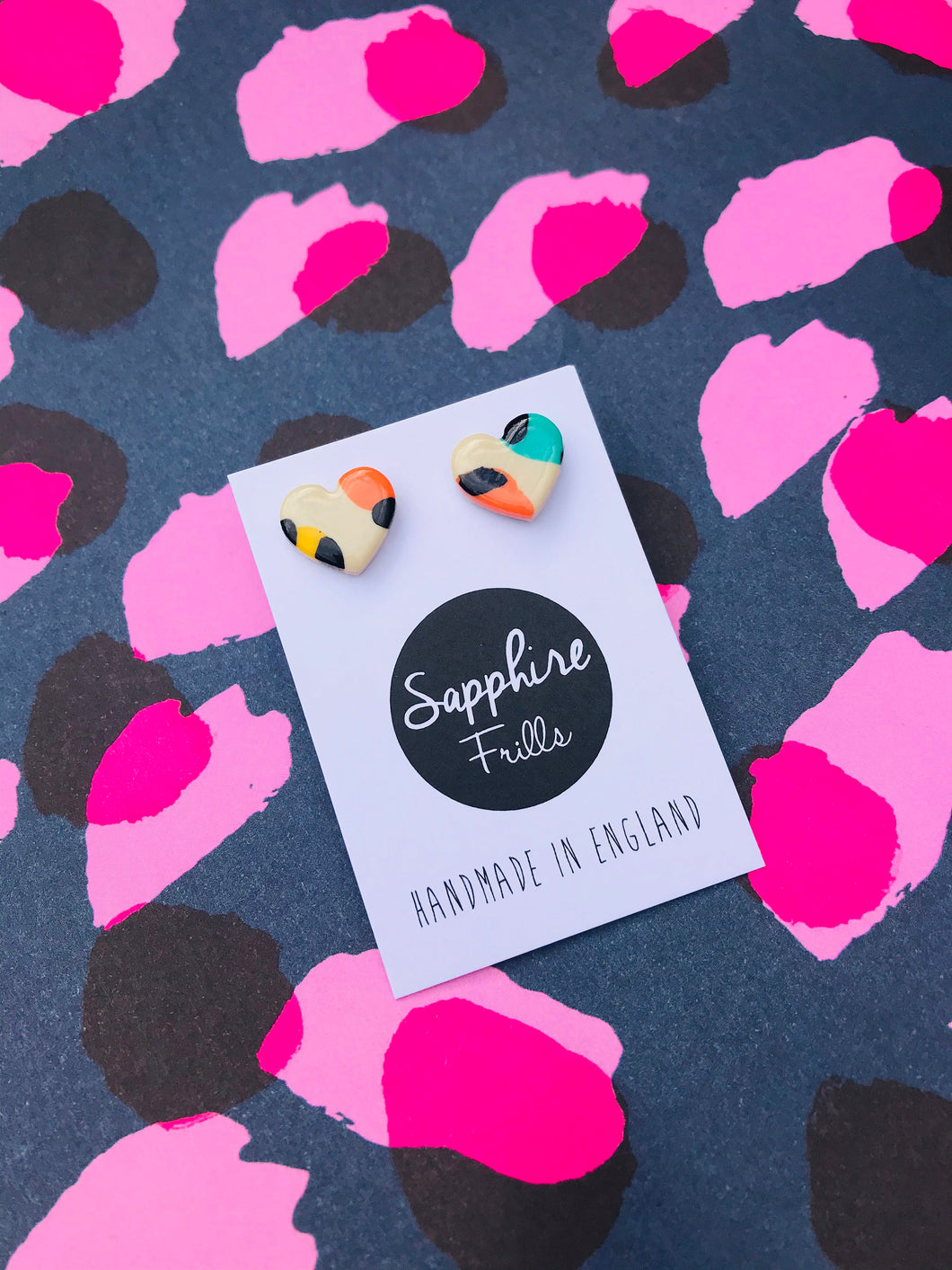 Small Mismatch Warm Rainbow Leopard Print Heart Stud Earrings