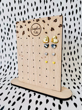 Load image into Gallery viewer, Sapphire Frills Small Stud Leopard Print Earring Stand