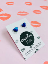 Load image into Gallery viewer, Mini Sapphire Blue Marble Heart Stud Earrings