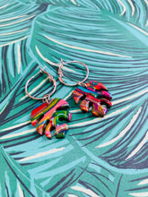 Load image into Gallery viewer, Rainbow Marble Monstera Leaf Earrings