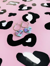 Load image into Gallery viewer, Medium Pastel Rainbow Animal Print with Lilac Foil Heart Stud Earrings