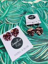 Load image into Gallery viewer, Burgundy Rainbow with Rose Gold Monstera Leaf Earrings