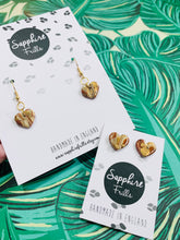 Load image into Gallery viewer, Small Bronze and Gold Marble Heart Stud Earrings