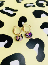 Load image into Gallery viewer, Medium Lilac and Pastel Yellow Marble with Pink and Purple Foil Kitty Cat Heads Stud Earrings