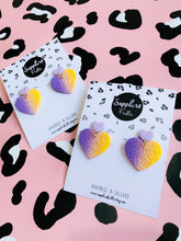 Load image into Gallery viewer, Lavender and Lemon Yellow Ombre Leopard Print Heart Dangle Earrings