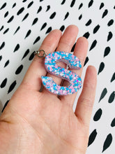 Load image into Gallery viewer, Pastel Pink and Blue Glitter Initial Keyring
