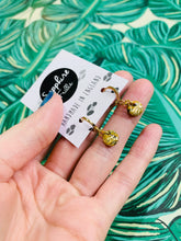 Load image into Gallery viewer, Mini Mustard and Gold Marble Zebra Print Circle Stud Earrings