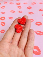 Load image into Gallery viewer, Medium Red Ditzy Leopard Print Heart Stud Earrings