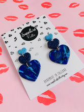 Load image into Gallery viewer, Sapphire Blue Marble Animal Print Heart Trio Dangle Earrings