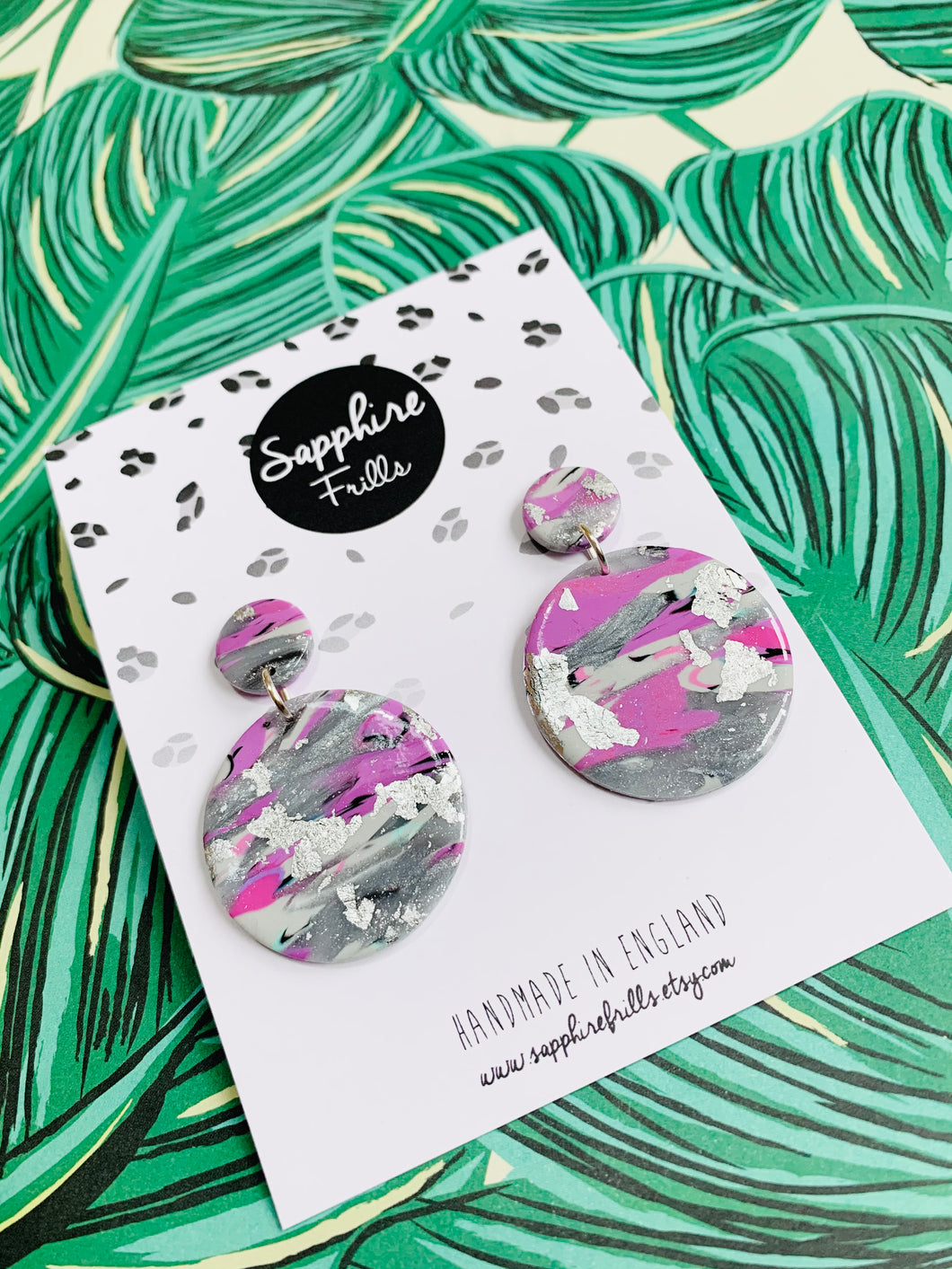 Lilac and Silver Marble Circle Dangle Earrings