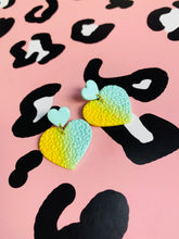 Load image into Gallery viewer, Mint and Lemon Yellow Ombre Leopard Print Heart Dangle Earrings