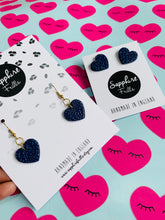 Load image into Gallery viewer, Medium Navy Ditzy Leopard Print Heart Stud Earrings