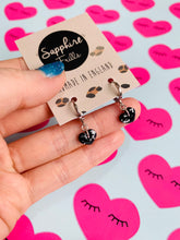 Load image into Gallery viewer, Mini Black and White Speckle Heart Stud Earrings