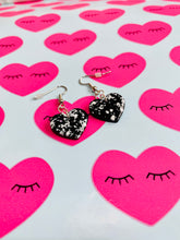 Load image into Gallery viewer, Medium Black and White Speckle Heart Stud Earrings
