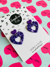 Load image into Gallery viewer, Violet Speckle Heart Dangle Earrings