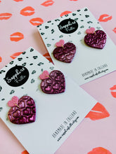 Load image into Gallery viewer, Pink Ombre Glitter Heart Dangle Earrings