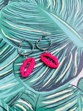 Load image into Gallery viewer, Medium Hot Pink Ditzy Leopard Print Lip Dangle Earrings