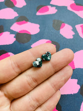 Load image into Gallery viewer, Mini Dark Green, White and Silver Splat Leopard Print Heart Stud Earrings