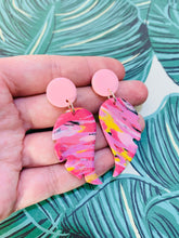 Load image into Gallery viewer, Pink and Yellow Glitter Marble Angel Wings Dangle Earrings