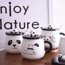 Load image into Gallery viewer, Panda Coffee Mug with Lid and Spoon