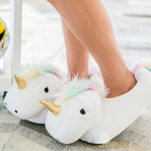 Load image into Gallery viewer, Plush Unicorn Slippers - TinyMinyMo